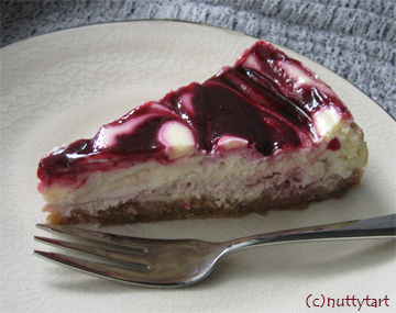 Blackcurrant swirl cheesecake