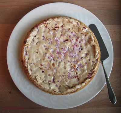 Red currant meringue torte